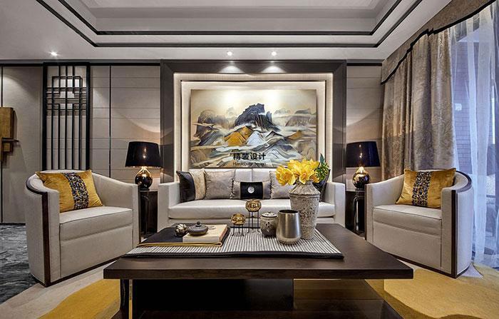 上东城115平方三室两厅新中式装修效果图